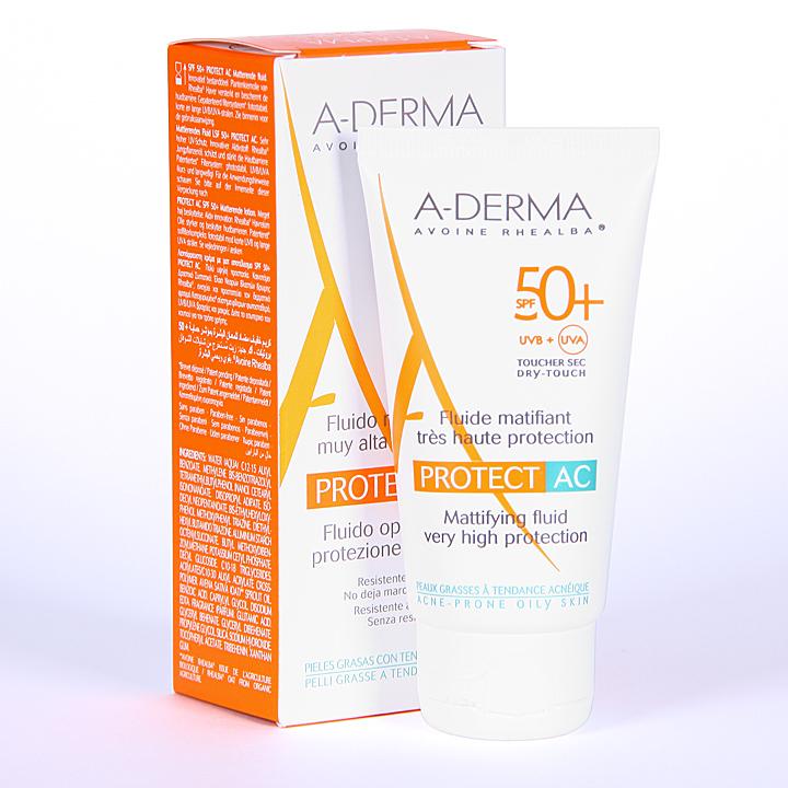 Farmacia Jiménez | A-Derma Protect AC Fluido Matificante Solar SPF 50+ 40 ml