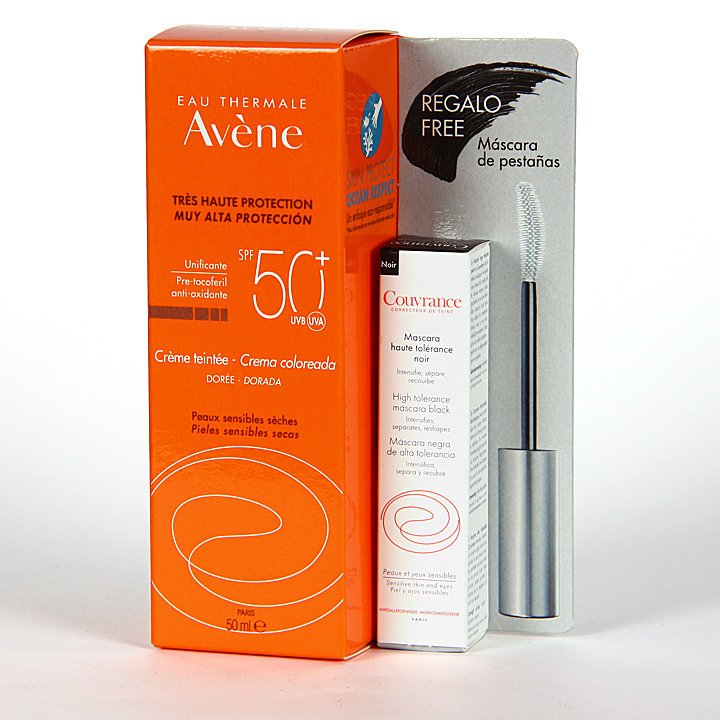 Farmacia Jiménez | Avene Solar Crema coloreada SPF 50+ 50ml + Máscara Pestañas de regalo