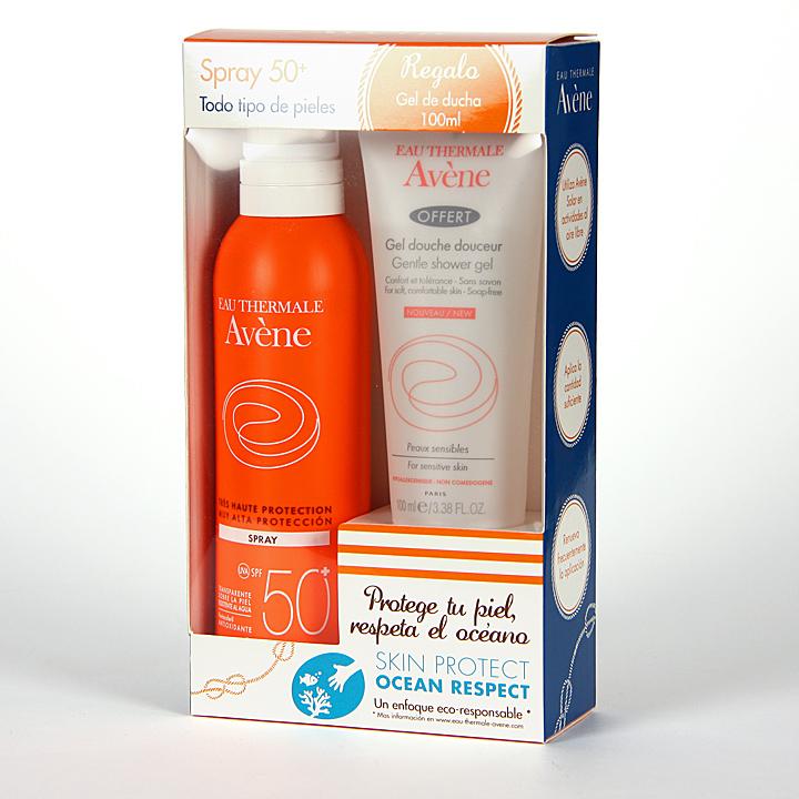 Farmacia Jiménez | Avene Solar Spray SPF 50+ Cara y Cuerpo 200 ml + Gel de ducha 100 ml Regalo