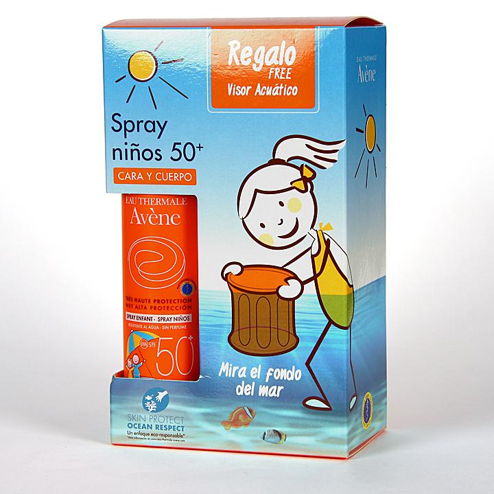 Farmacia Jiménez | Avene Solar Spray SPF 50+niños Cara y cuerpo 200 ml + Visor Acuático Regalo