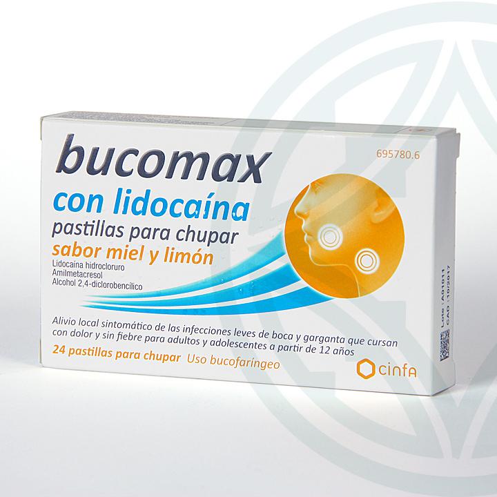 Farmacia Jiménez | Bucomax Lidocaína 24 pastillas para chupar sabor miel y limón