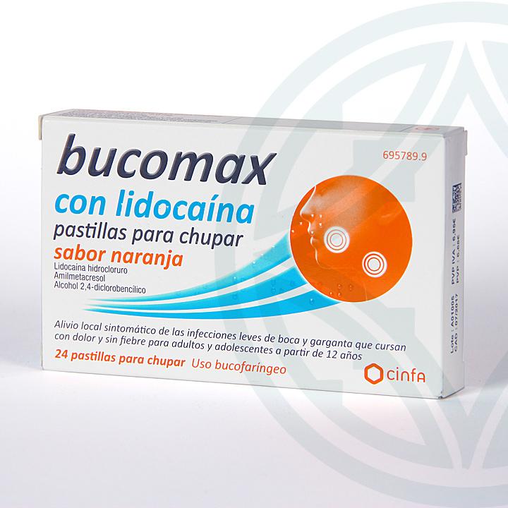 Farmacia Jiménez | Bucomax Lidocaína 24 pastillas para chupar sabor naranja