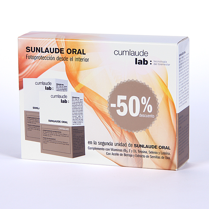 Farmacia Jiménez | Cumlaude Sunlaude Oral Cápsulas duplo 50% 2ª unidad