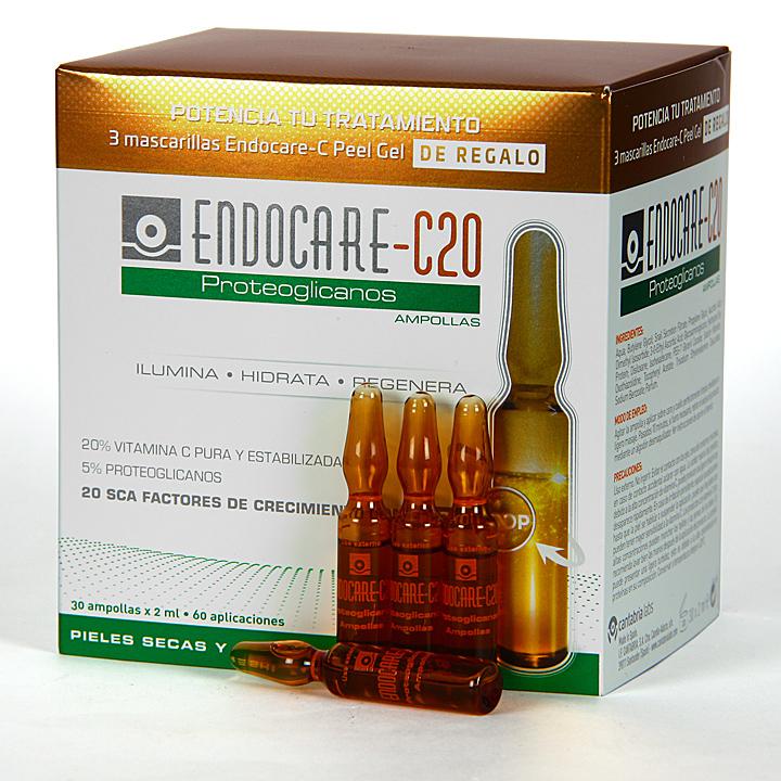 Farmacia Jiménez | Endocare C20 Proteoglicanos 30 Ampollas + 3 Endocare-C Peel Regalo