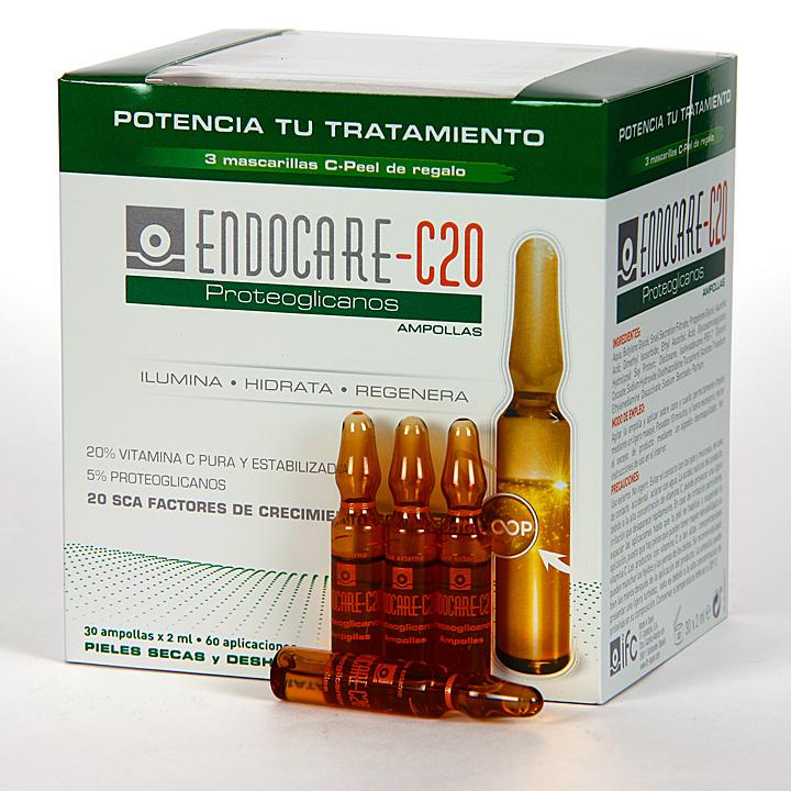 Farmacia Jiménez | Endocare C20 Proteoglicanos 30 Ampollas + C-Peel 3 Mascarillas Pack Regalo