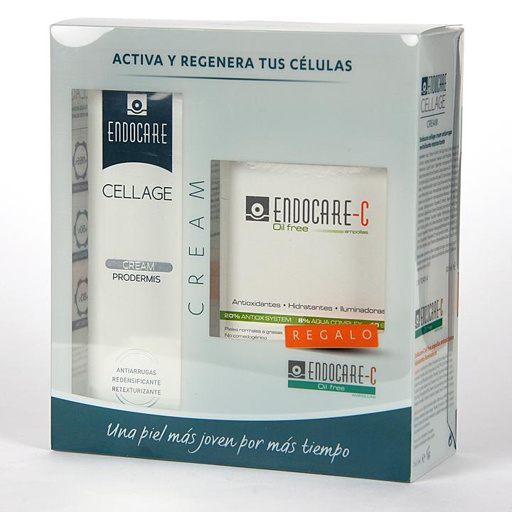 Farmacia Jiménez | Endocare Cellage Crema Prodermis 50 ml + Endocare C oil free 7 Ampollas Pack Regalo