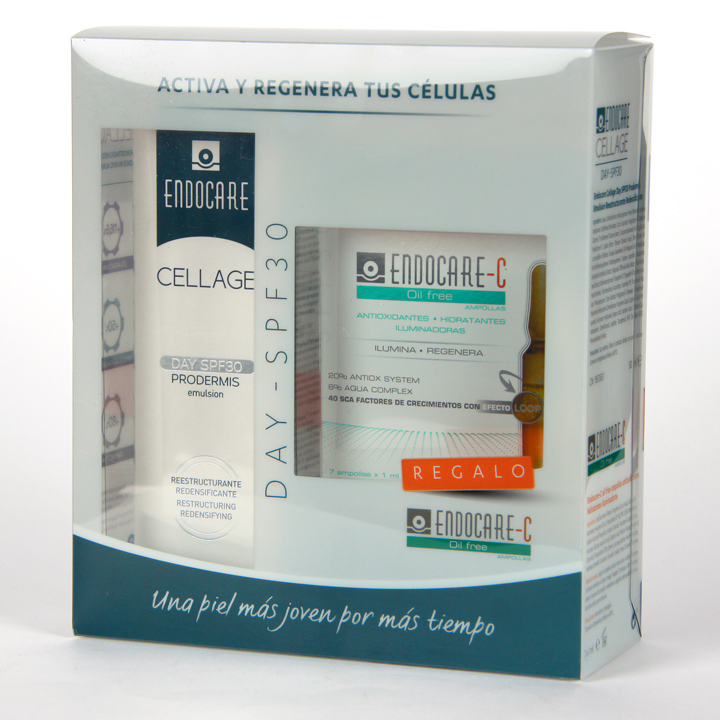 Farmacia Jiménez | Endocare Cellage Day SPF 30 Prodermis + Endocare C Oil free Ampollas Pack