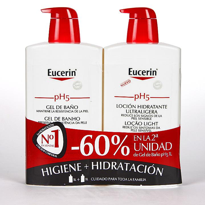 Farmacia Jiménez | Eucerin pH5 Loción Ultraligera 1L + Gel de Baño 1L Pack Promoción