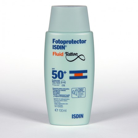 Farmacia Jiménez | Fotoprotector Isdin Fluid Tattoo SPF50+ 100ml