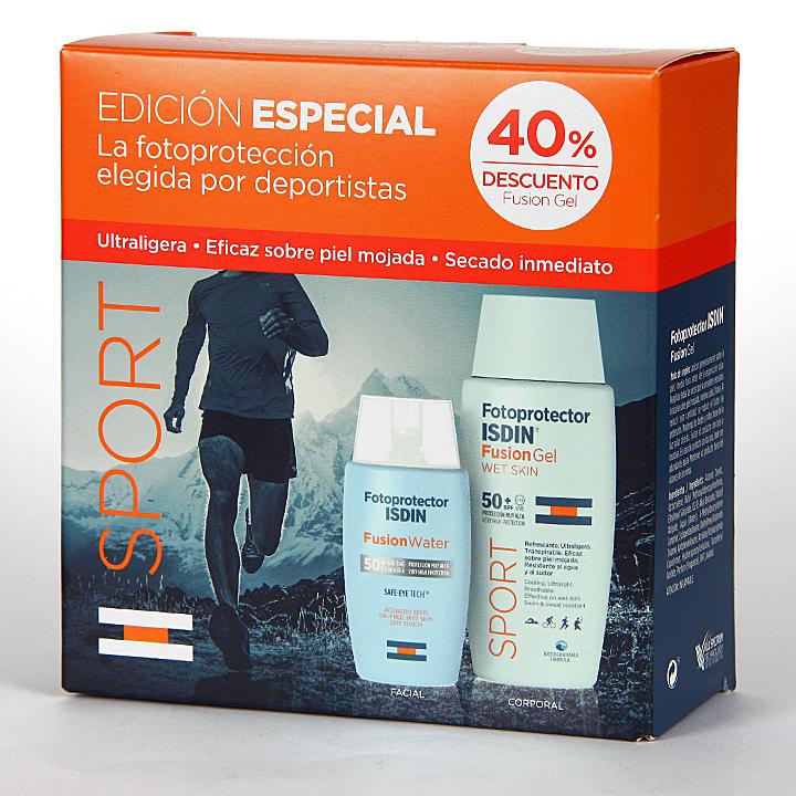 Farmacia Jiménez | Fotoprotector Isdin Fusion Water + Fusion Gel SPORT Pack 40 % Dto