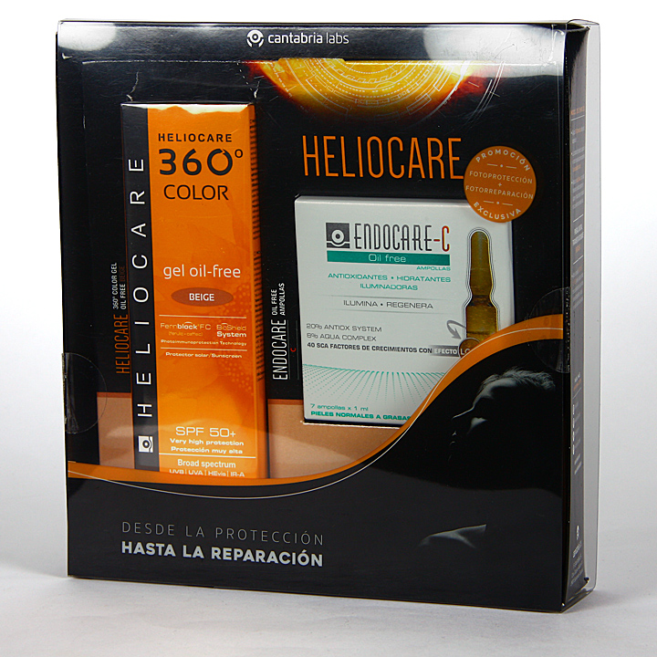 Farmacia Jiménez | Heliocare 360° Color Gel oil-free SPF 50+ Beige 50 ml + Endocare-C oil free 7×1 ml ampollas Regalo