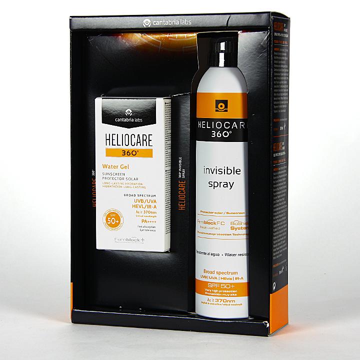 Farmacia Jiménez | Heliocare 360º Water Gel SPF 50+ 50 ml + Spray Invisible SPF 50 200 ml Pack
