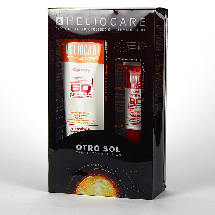 Farmacia Jiménez | Heliocare Advanced SPF 50 Spray 200 ml + Ultra Gel SPF90 25 ml Pack