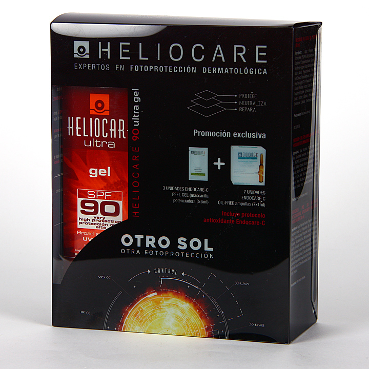 Farmacia Jiménez | Heliocare Ultra Gel SPF 90 Pack + Endocare-C oil free 7 amp + 3 Endocare-C Peel