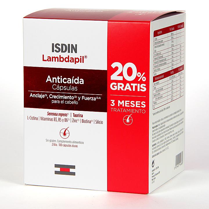 Farmacia Jiménez | Isdin Lambdapil Anticaída 180 cápsulas Pack tratamiento 3 meses