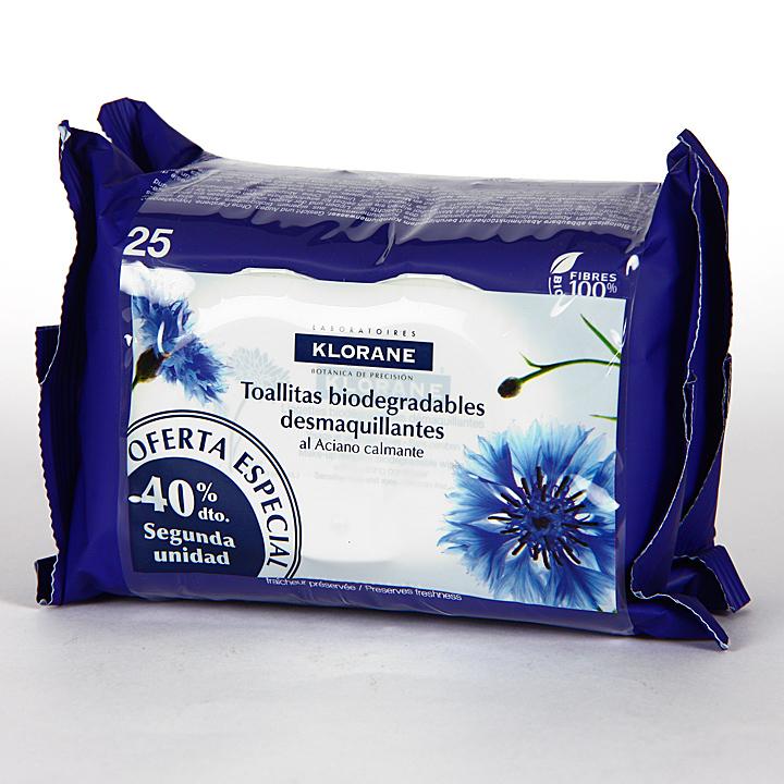 Farmacia Jiménez | Klorane Toallitas Desmaquillantes al aciano 25+25 pack Duplo