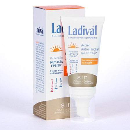 Farmacia Jiménez | Ladival Acción Anti-manchas con Deléntigo con Color SPF 50+ 50 ml