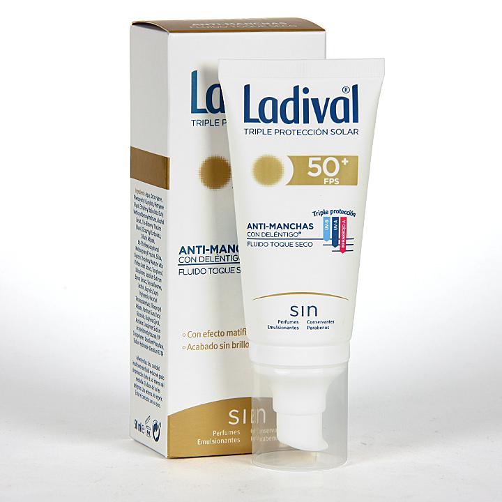 Farmacia Jiménez | Ladival Acción Anti-manchas con Deléntigo Toque seco SPF50+ 50 ml