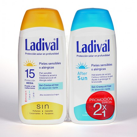 Farmacia Jiménez | Ladival Pieles sensibles o alérgicas SPF 15 200 ml + Ladival Aftersun 200 ml