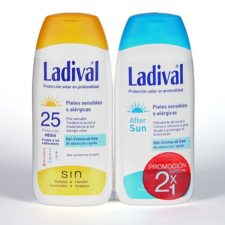 Farmacia Jiménez | Ladival Pieles sensibles o alérgicas SPF 25 200 ml + Ladival Aftersun 200 ml