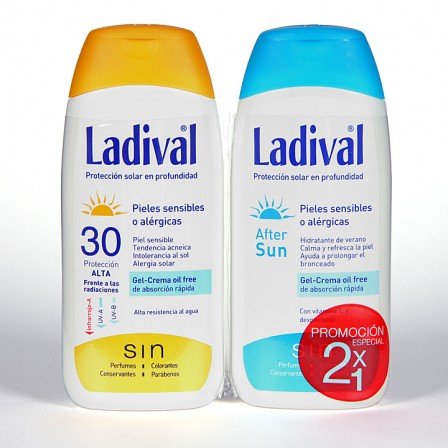 Farmacia Jiménez | Ladival Pieles sensibles o alérgicas SPF 30 200 ml + Ladival Aftersun 200 ml