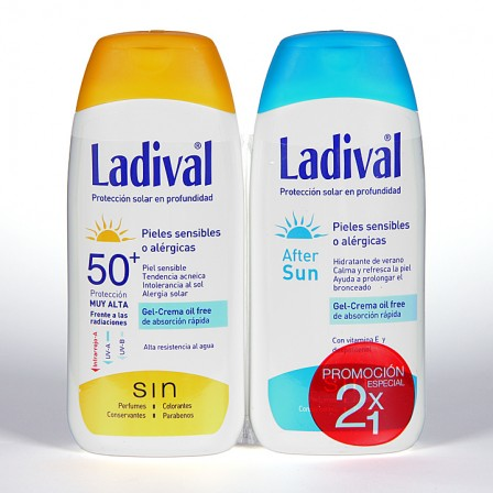 Farmacia Jiménez | Ladival Pieles sensibles o alérgicas SPF 50+ 200 ml + Ladival Aftersun 200 ml