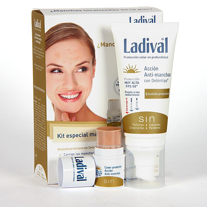 Farmacia Jiménez | Ladival Kit Especial Antimanchas Deléntigo Emulsión + Cover Stick