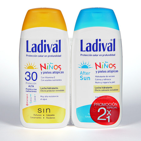 Farmacia Jiménez | Ladival Niños y pieles atópicas SPF 30 200 ml + Ladival Aftersun 200 ml