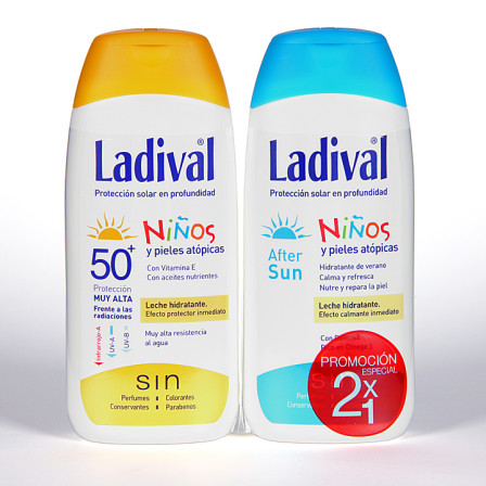 Farmacia Jiménez | Ladival Niños y pieles atópicas SPF 50+ 200 ml + Ladival Aftersun 200 ml