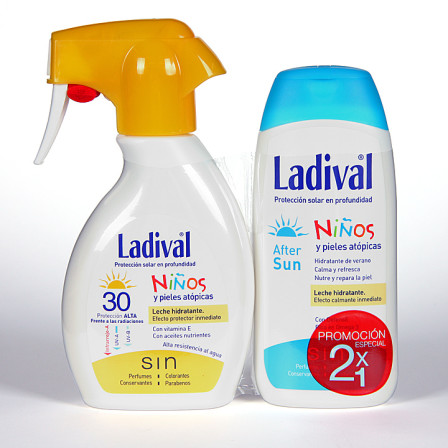 Farmacia Jiménez | Ladival Spray Niños y pieles atópicas SPF 30 200 ml + Ladival Aftersun 200 ml