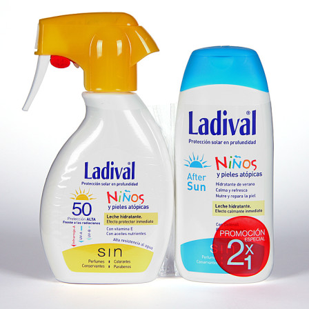 Farmacia Jiménez | Ladival Spray Niños y pieles atópicas SPF 50+ 200 ml + Ladival Aftersun 200 ml