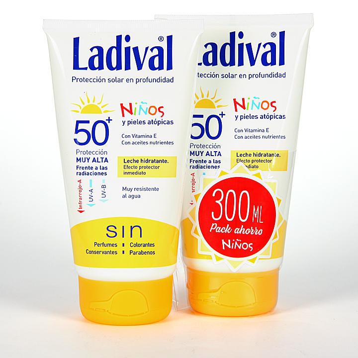 Farmacia Jiménez | Ladival Niños y pieles atópicas SPF 50+ 150ml + 150 ml Pack Duplo Ahorro