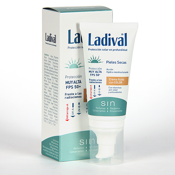 Farmacia Jiménez | Ladival Pieles Secas Crema fluida con color SPF 50+ 50 ml