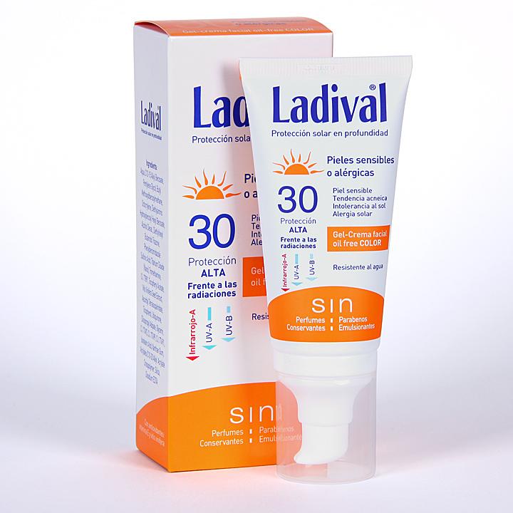 Farmacia Jiménez | Ladival Pieles sensibles o alérgicas Gel-Crema facial con Color SPF 30 75 ml