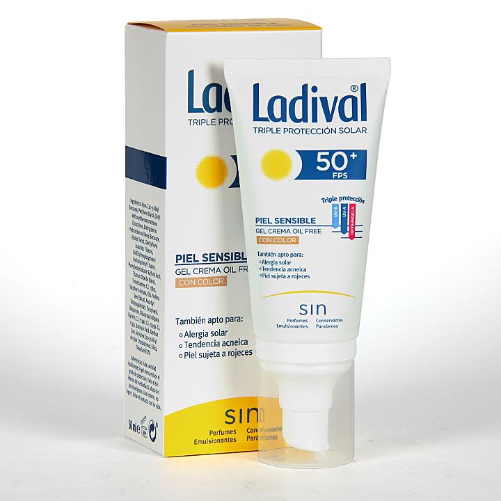 Farmacia Jiménez | Ladival Pieles sensibles o alérgicas Gel-Crema facial con Color SPF 50+ 50 ml
