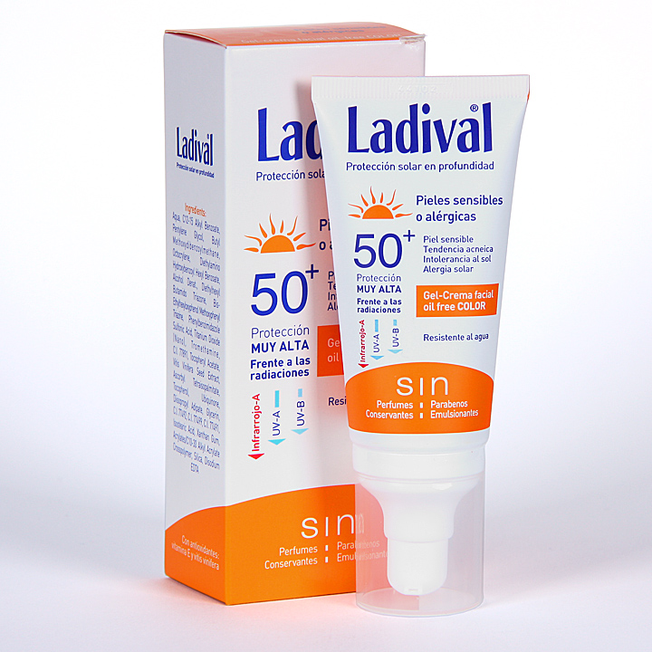 Farmacia Jiménez | Ladival Pieles sensibles o alérgicas Gel-Crema facial con Color SPF 50+ 50 ml