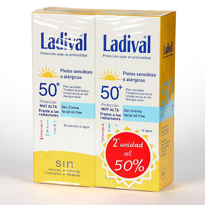 Farmacia Jiménez | Ladival Pieles sensibles o alérgicas Gel-crema facial SPF 50+ 75 ml Pack Duplo