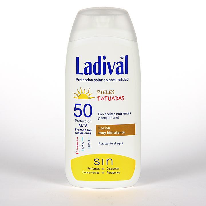 Farmacia Jiménez | Ladival Pieles Tatuadas Loción SPF50 200 ml