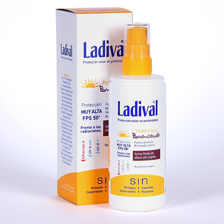 Farmacia Jiménez | Ladival Protección y Bronceado Spray fluido SPF 50+150 ml