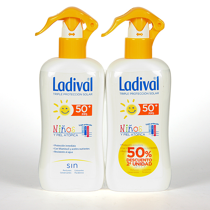 Farmacia Jiménez | Ladival Spray Niños y pieles atópicas SPF 50+ 200 ml Pack Duplo