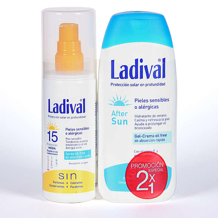 Farmacia Jiménez | Ladival Spray Pieles sensibles o alérgicas SPF 15 150 ml + Ladival Aftersun 200 ml