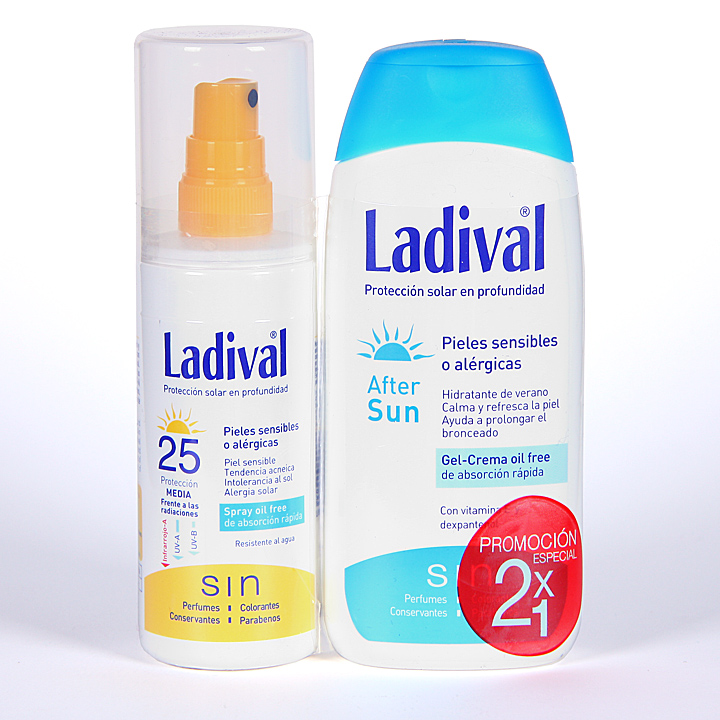 Farmacia Jiménez | Ladival Spray Pieles sensibles o alérgicas SPF 25 150 ml