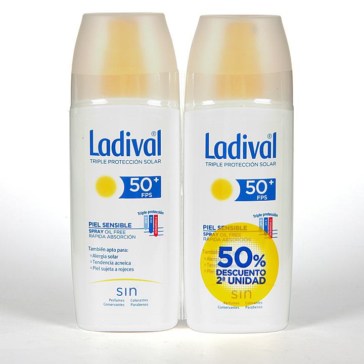 Farmacia Jiménez | Ladival Spray Pieles sensibles o alérgicas SPF 50+ Pack ahorro 150 ml +150 ml