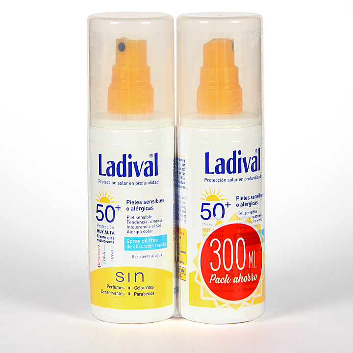 Farmacia Jiménez | Ladival Spray Pieles sensibles o alérgicas SPF 50+ Pack ahorro 150 ml +150 ml