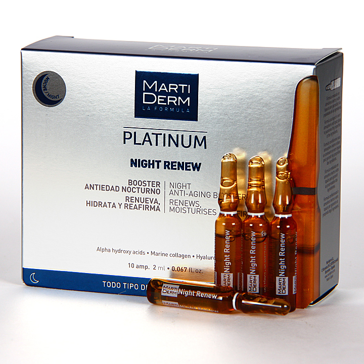 Farmacia Jiménez | Martiderm Night Renew Platinum 10 ampollas