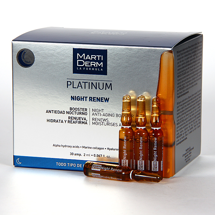 Farmacia Jiménez | Martiderm Night Renew Platinum 30 ampollas