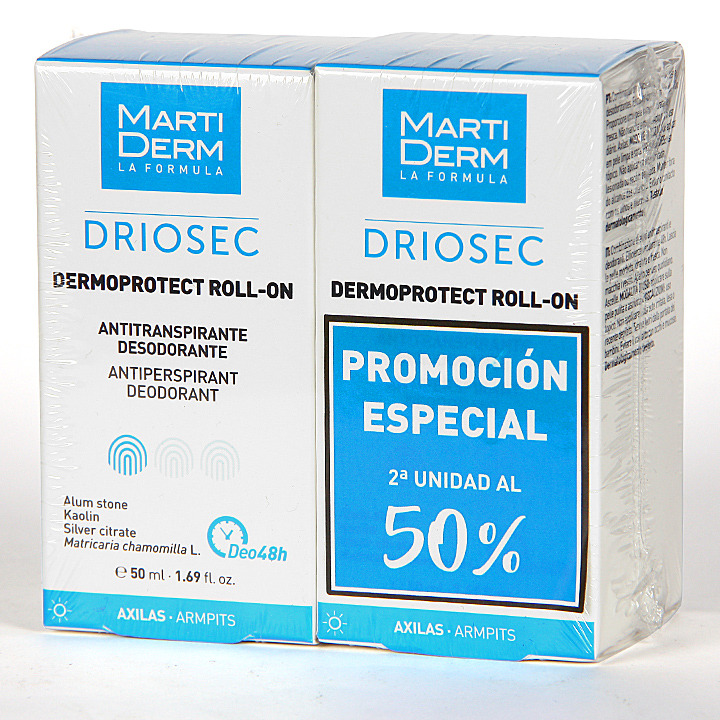 Farmacia Jiménez | Martiderm Driosec Dermoprotect Roll-on 50 ml Pack Duplo