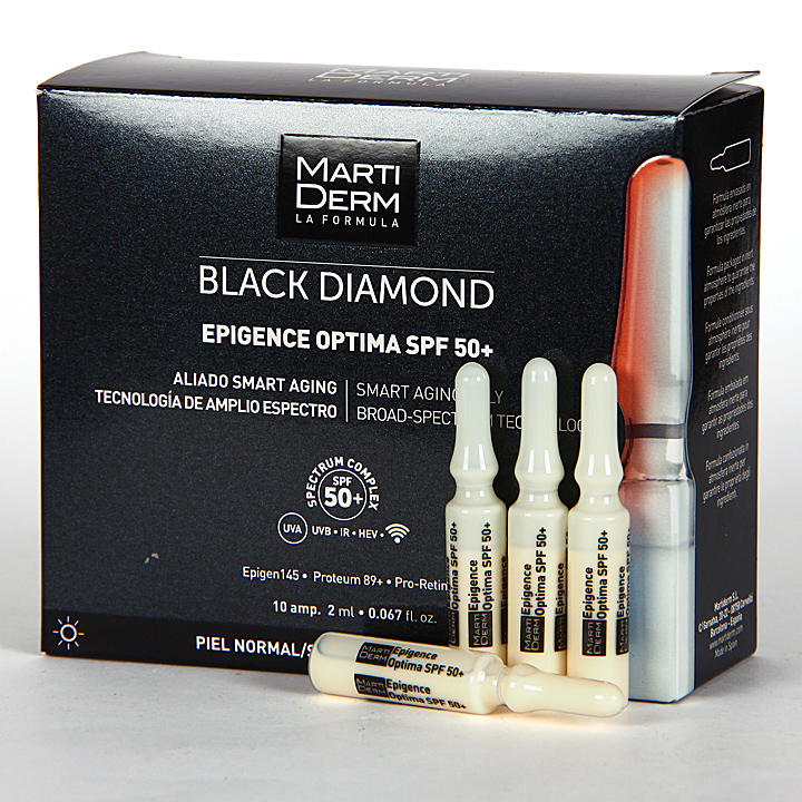 Farmacia Jiménez | Martiderm Epigence Optima SPF 50+ Black Diamond 10 Ampollas