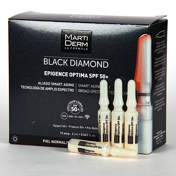 Farmacia Jiménez | Martiderm Epigence Optima SPF 50+ Black Diamond 10 Ampollas