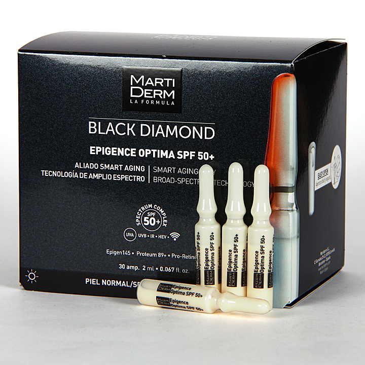 Farmacia Jiménez | Martiderm Epigence Optima SPF 50+ Black Diamond 30 Ampollas